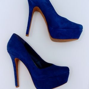 Women's Jessica Simpson Blue Suede Platform Pumps